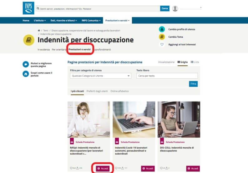 accedere naspi inps