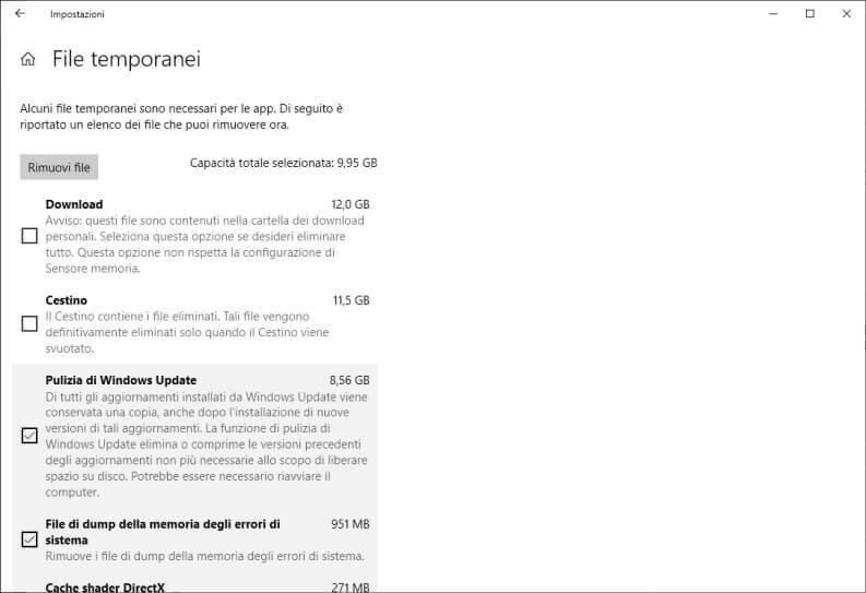 Strumento di rimozione file temporanei di Windows 10
