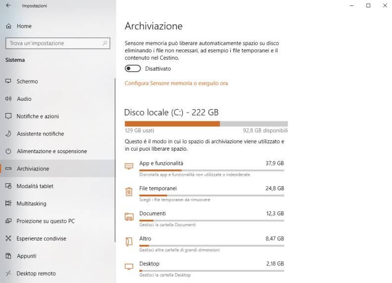 Archiviazione Eliminare file temporanei Windows 10