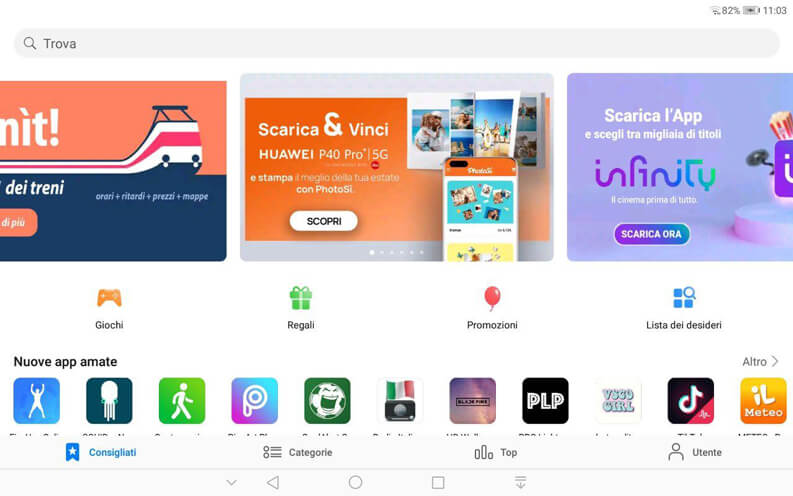 schermata appgallery mobile