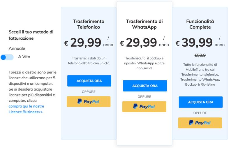 windows prezzi mobiletrans