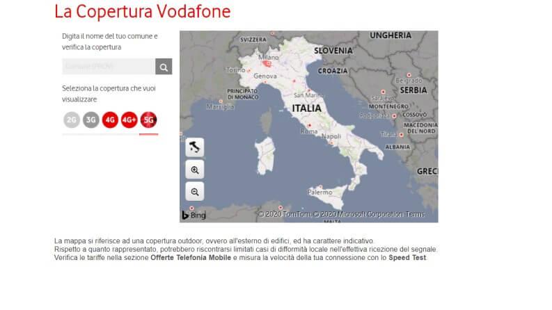 La mappa delle antenne 5g di Vodafone