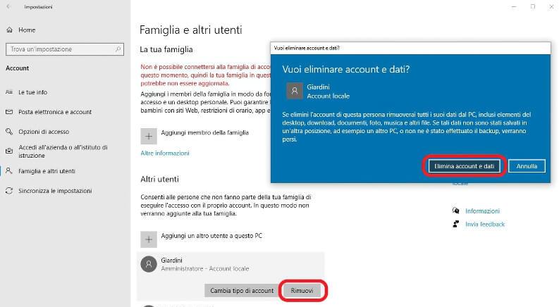 Come rimuovere un utente su Windows 10