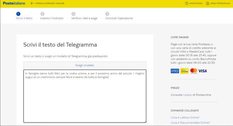 Scrivi il testo del telegramma per l'invio online