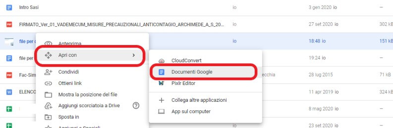 Documenti Google esempio
