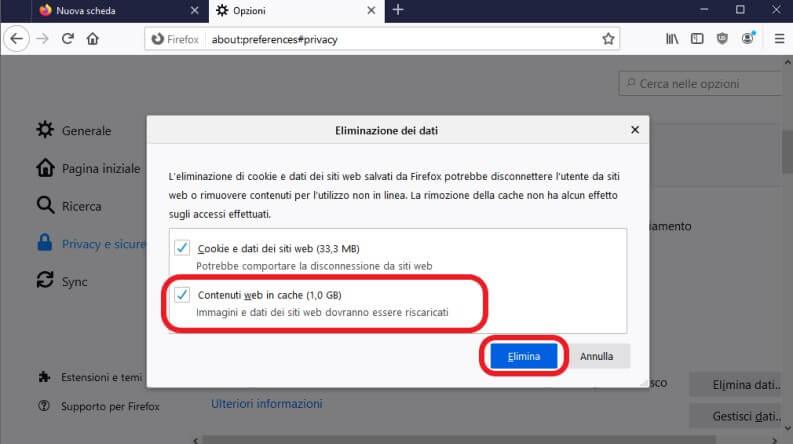Eliminare la cache su Firefox