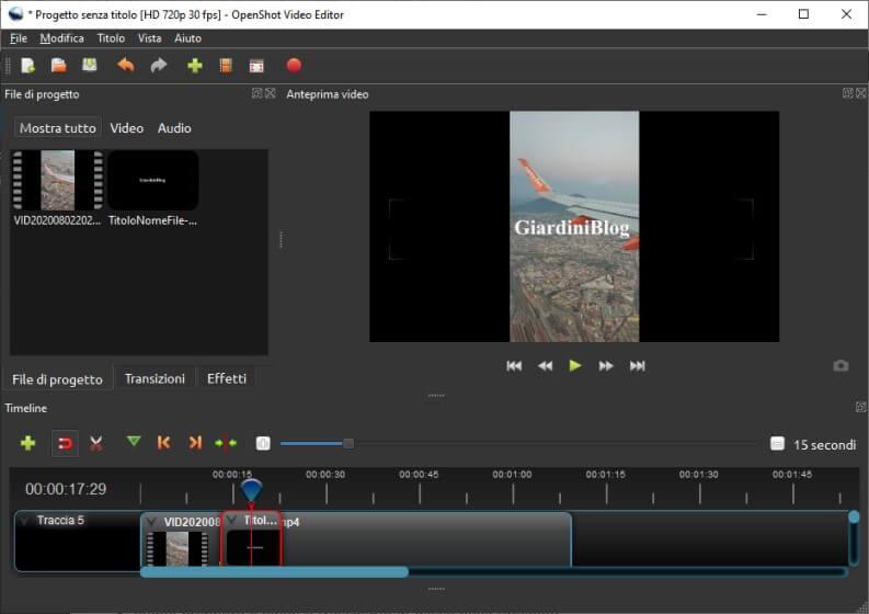 OpenShot ed esempio di titoli nei video