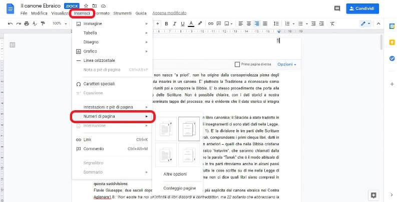 numerare le pagine su google documenti