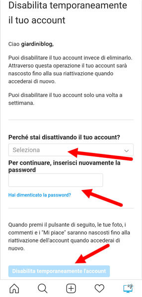 disabilita temporaneamente account instagram