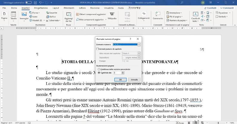 Numero diversa su word, numeri romani