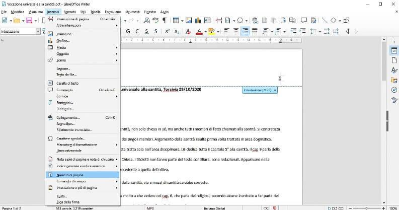 Numerare le pagine su Writer di LibreOffice