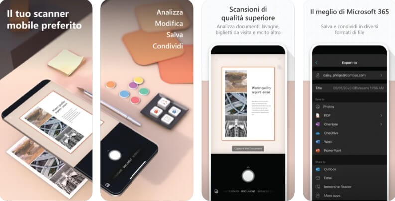 Office lens app per convertire foto in testo