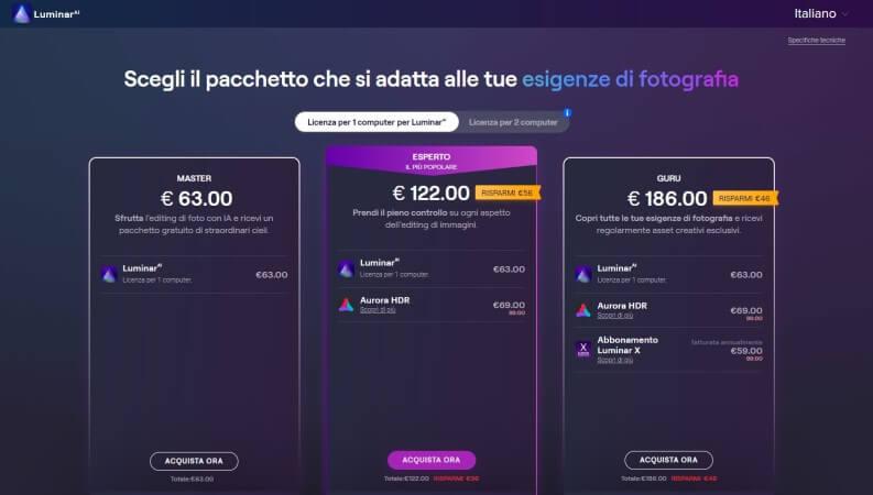 I pacchetti prezzi Luminar AI