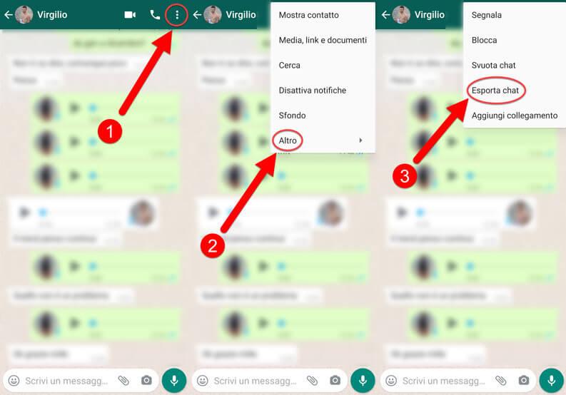 Esporta Chat Whatsapp Telegram