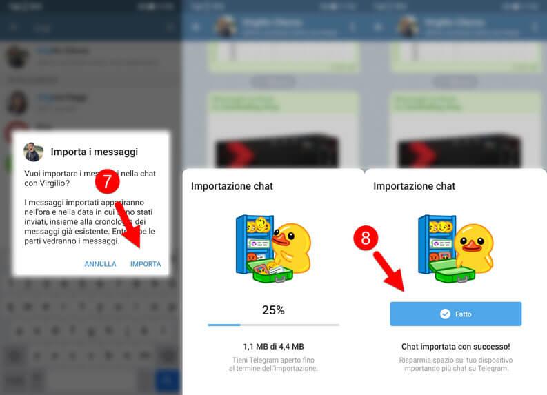 Esportazione Chat Whatsapp Telegram
