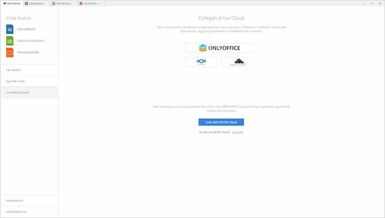 Onlyoffice Desktop Editor Schermata Iniziale