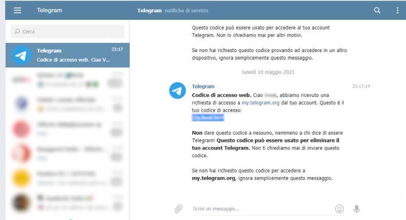 Eliminazione Account Telegram 2 (codice)