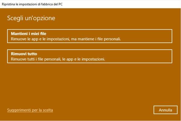 reimpostazione windows 10