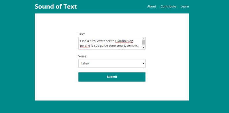 I migliori convertitori di testo in voce online: Sound Of Text