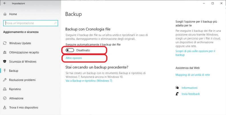 Fare backup su Windows 10
