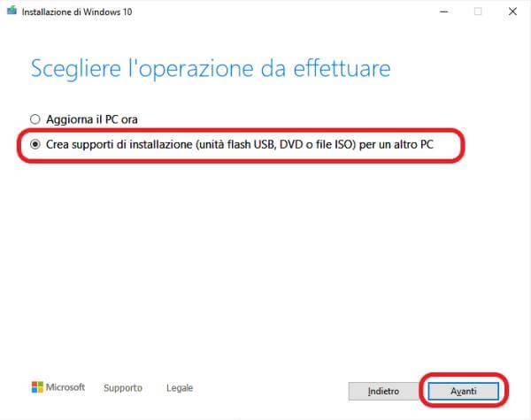Creare Chiavetta Windows 10