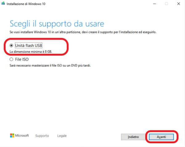 Come realizzare un supporto esterno avviabile di Windows 10