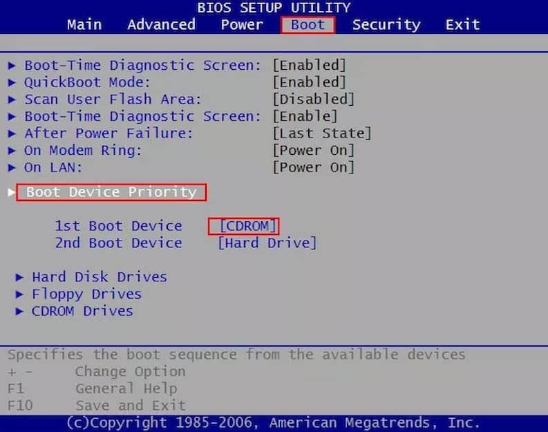 Esecuzione Disco Avvio da BIOS cambio boot
