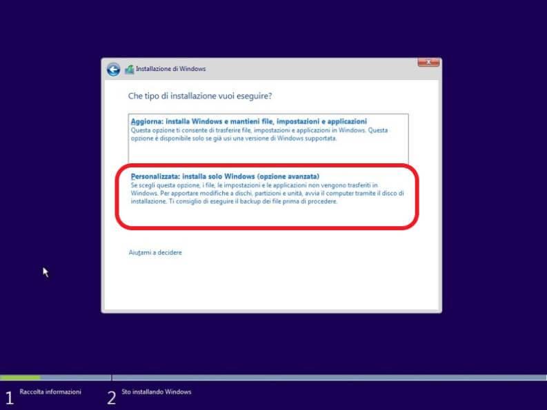 Installazione di Windows 10