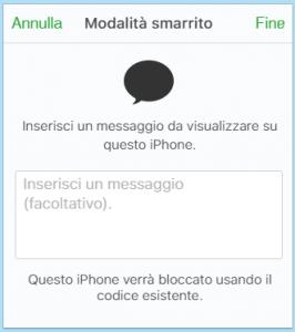 invia messaggio ad un iphone perso o rubato