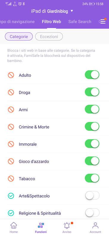 Fiiltro Web parental control