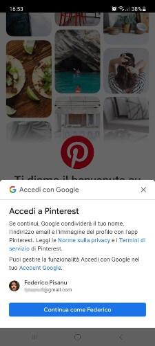 Iscrizione Pinterest