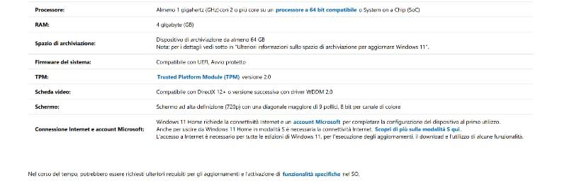 Requisiti Minimi Windows 11