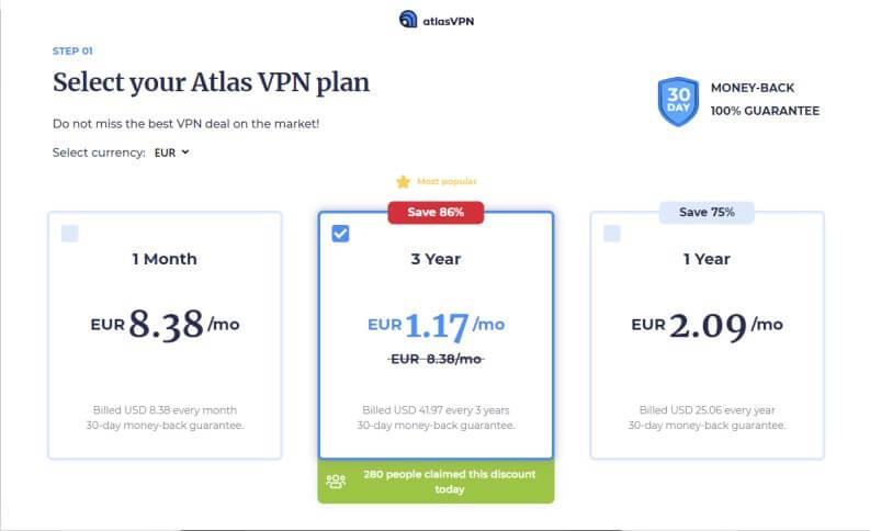 Quanto costa Atlas VPN Premium?