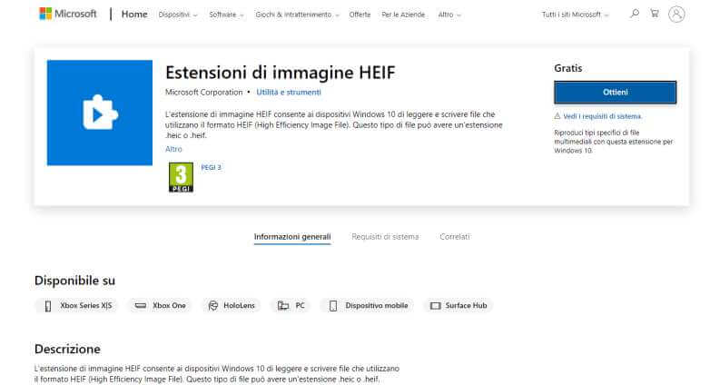 Estensione HEIC Windows 10