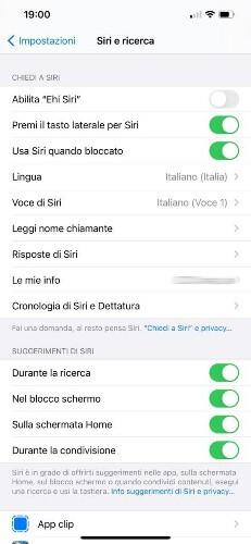 Disattivare Siri