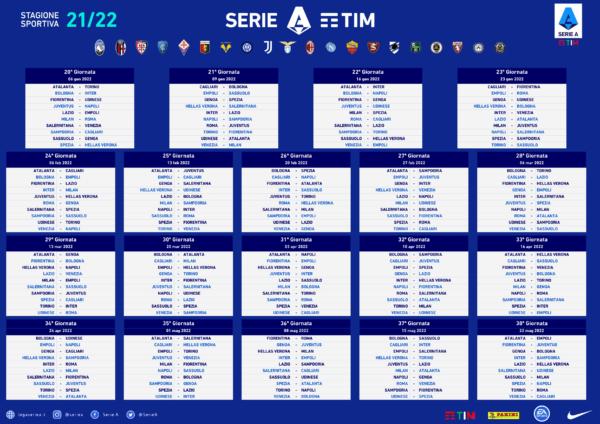 Calendario Serie A Girone Ritorno