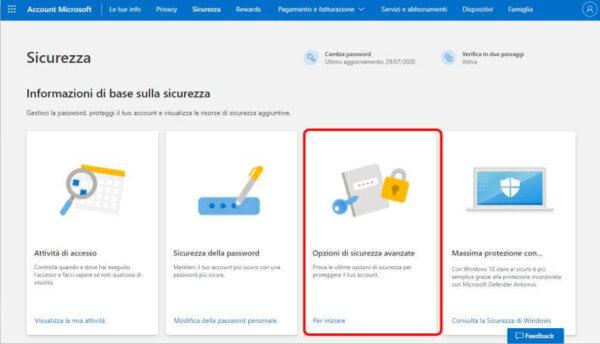 Recuperare Password Outlook Opzioni