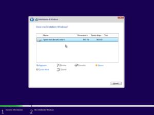 Seleziona dove installare Windows 11