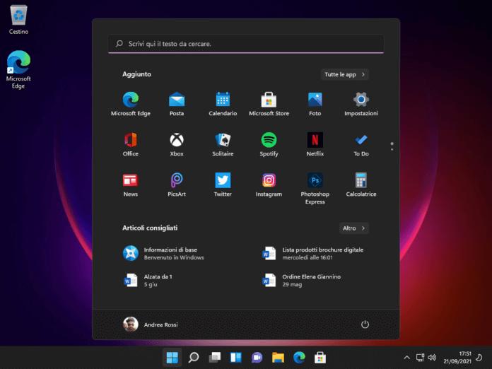Menu Start Windows 11