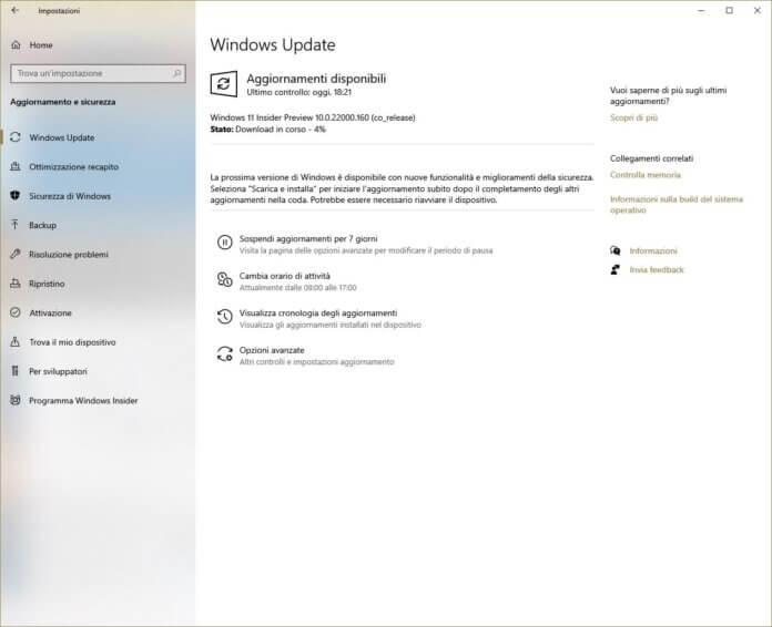 Aggiornamenti Windows Update