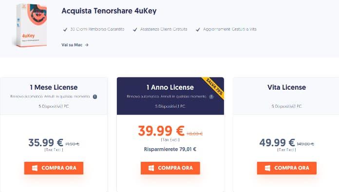 Prezzi Tenorshare 4ukey