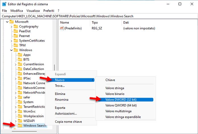 Windows Search Valore Dword 32