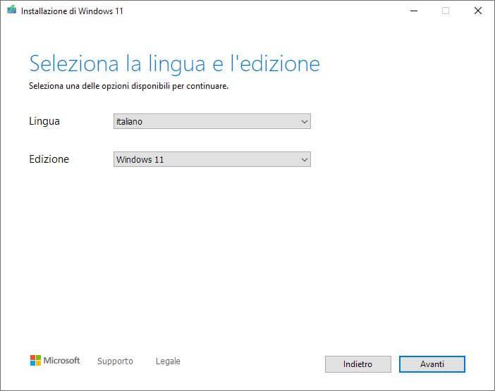 Installazione Di Windows11