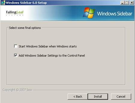 Windows Vista Sidebar per Windows XP